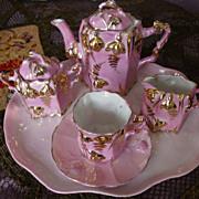 Bright   Pink  Luster  Doll Tea Set  Germany
