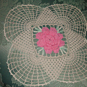 2 Pair Crochet Pink Roses Lace Beige Doily