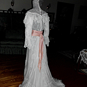 REDUCED Edwardian Sheer Voile Cotton Lace Tea Lawn Wedding Dress Gown w Train & Silk Sash