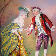 """SALE French Enamel and Foil Portrait of Gent and Lady 3.5"""" by 4.75"""""""