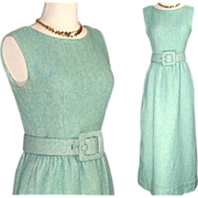 SALE Vintage Couture Norman Norell 'Tiffany Blue'  Wool Boucle Dress w Wrap
