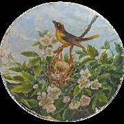 SALE Antique 1880 Victorian School Girl BIRD w Nest Oil Painting Flue Cover