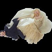 Whimsical Vintage 1950's ROLDAN Klumpe Wedding BRIDE & GROOM Spain Felt Cloth Dolls Or ...