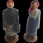 Rare Karl Muller GERMAN Erzgebirge PUTZ Hand Carved Toy Peasant Women ~Museum worthy~