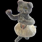 Antique Cold Painted GERMAN Heyde Cast Metal Spelter BALLERINA Cat