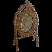 Antique GERMAN Dollhouse Miniature Gold Gilt Metal MIRROR Stand