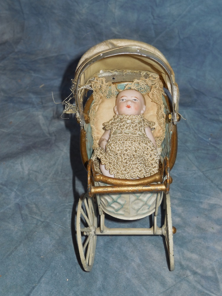 Antique Marklin Type Carriage And Bisque Baby From
