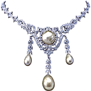Vintage Glass Pearl and Crystal Pave Necklace