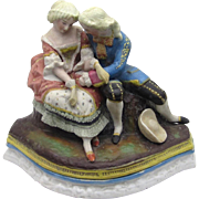Ceramic Figural Inkstand with Pounce Pot and Inkwell, 19th century