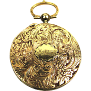 14 Carat Gold Locket in Watch-form with Intricate Hair Memento, Victorian