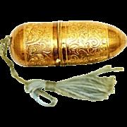 SOLD Gilt Needlework Étui with Thimble, Needlecase & Thread Holder, early 20th Century