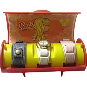 Boxed Vintage Barbie Watch Set with Three Alternate Wristbands, c1971