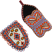 Cree Indian Beaded Watch Pockets, One for Day, One for Night, Vintage