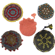 Delightful Collection of Five Watch Protectors, Ottoman/Turkish Empire, Beaded & Crochet