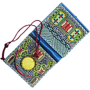 Delightful Chinese Embroidered Purse with Watch Holder, late 19th Century