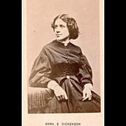 Carte de visite of Anna E. Dickenson, famed suffragette. American, c1865