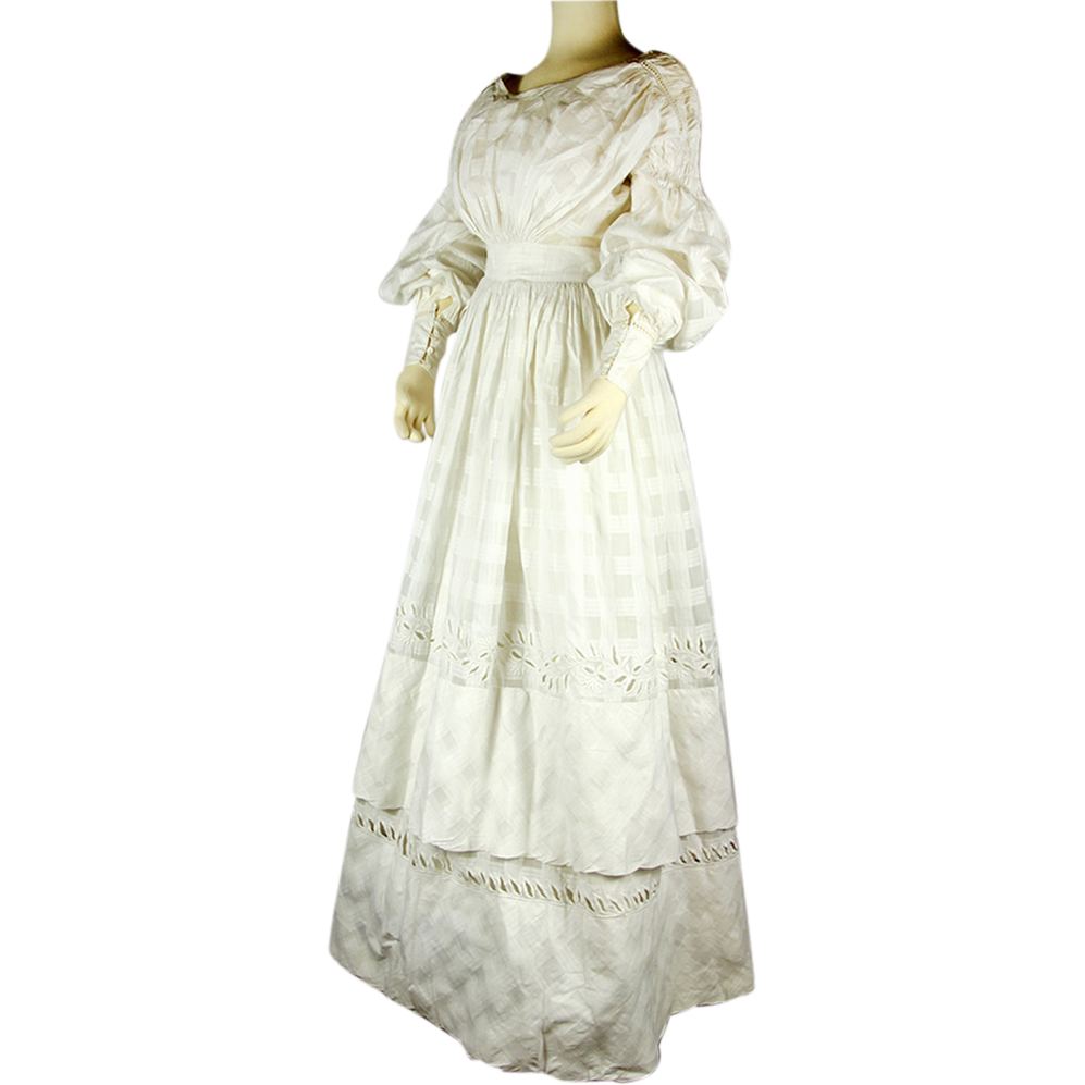 Stunning Late Regency Hand Embroidered White Patterned