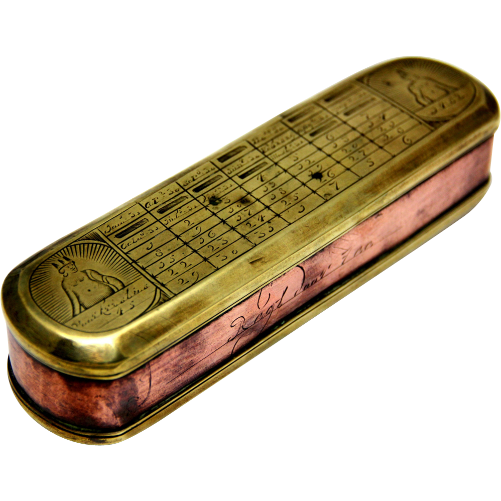Early Dutch Tobacco Box Of Brass Amp Copper With Perpetual