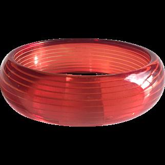 Bakelite Bangle Bracelet Reverse Caved in Raspberry