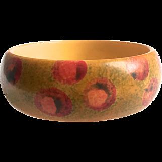 Bakelite Bangle Bracelet Sponge Painted Dots