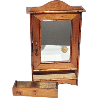 French Faux Bamboo Miniature Doll Armoire Salesman Sample