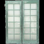 SALE Pair Painted French Doors 12-Pane Glass Doors Vintage
