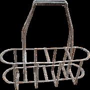 SALE Vintage French Metal Wine Bottle Carrier Caddy