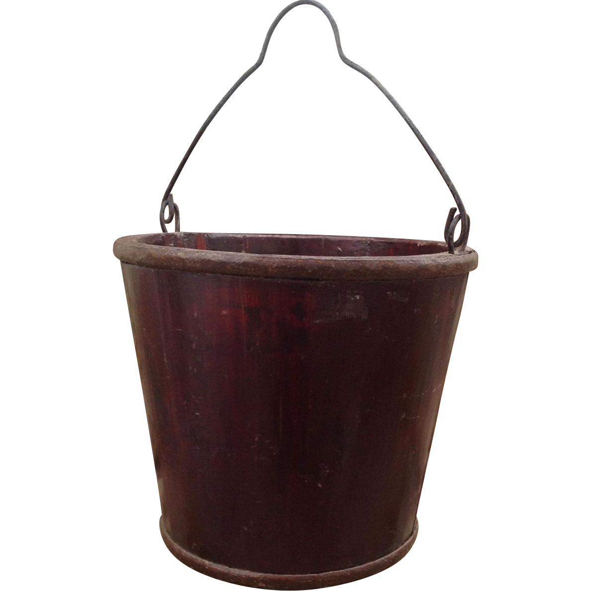 Antique chinese coopered wood water bucket with metal for Old metal buckets