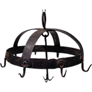 SOLD 18thc Hand Wrought Iron Game Hook Pot Rack