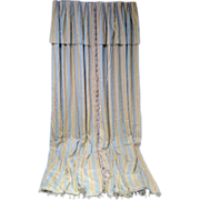 SALE Impressive Pair of Designer Draperies with Valance Blue and Taupe