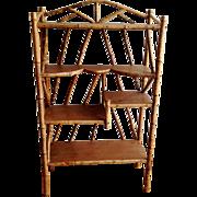 SALE Antique Tortoise Bamboo & Wood Display Shelf étagère Bookcase ca.1890