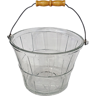 Vintage Glass Bucket with Wood and Metal Handle, Wine Cooler