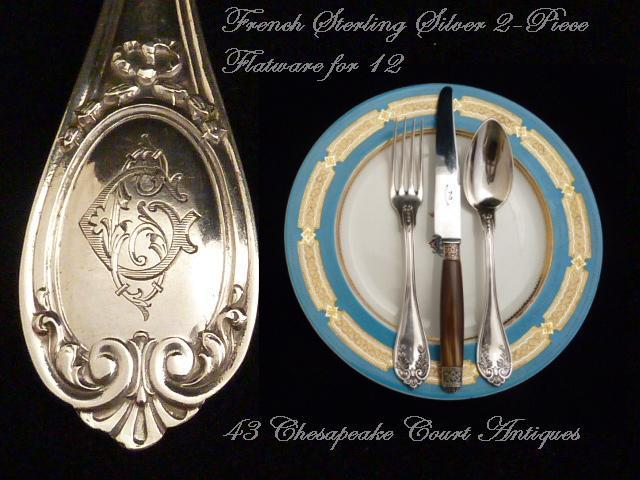 Antique French Sterling Silver Flatware Service for 12, 24 Pieces Circa 1850