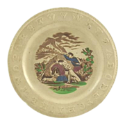Antique Children's Raised ABC Plate Brown Transferware with Dogs