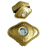 Antique French Dore Box with Miniature Portrait