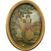 Antique Silk Embroidery Georgian Era Romantic Scene in Garden