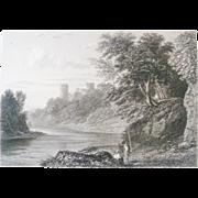 Antique Steel Engraving by E Finden Bothweld Castle Circa 1830