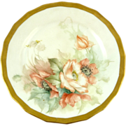 Antique Limoges Hand-Painted Cabinet Dessert Plate Roses Gilt Trim