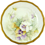 Antique Limoges Hand-Painted Dessert Plate Gilt Trim Pansies