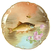 Antique Limoges Fish Charger Plate Gilt Trim Wall Plaque