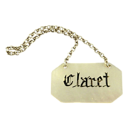 "Antique Wine Label  Bottle Ticket Mother of Pearl for ""Claret"""