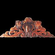 Antique Carved Architectural Pediment Lions