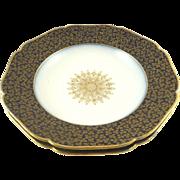 Limoges Cobalt Blue and Gold Soup Raised Gilt Bowls Set of 2