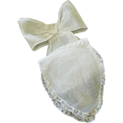 Antique French Linen Bow & Sash with Lace & Embroidery
