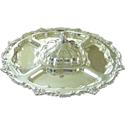 English Silver Plate Lazy Susan Rotating Service Tray