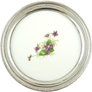 Vintage Silver Plate Tray with Porcelain Inset Violets