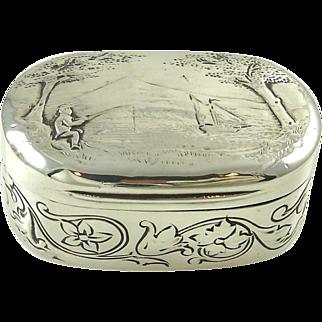 Antique Georgian Sterling Silver & Gilt Snuff Box London 1805