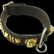 Antique Leather & Brass Dog Collar Victorian Era