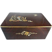 Antique French Mahogany Dressing Box Mother of Pearl Inlay & Mirror
