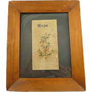 "Victorian Perforated Paper Needle Work Framed ""Hope"""